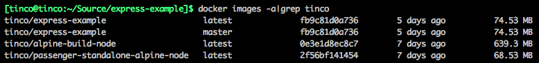 Screenshot of the image sizes in a terminal