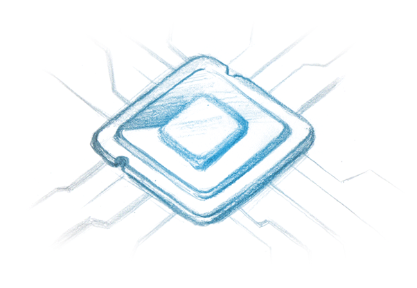 Drawing of a CPU chip